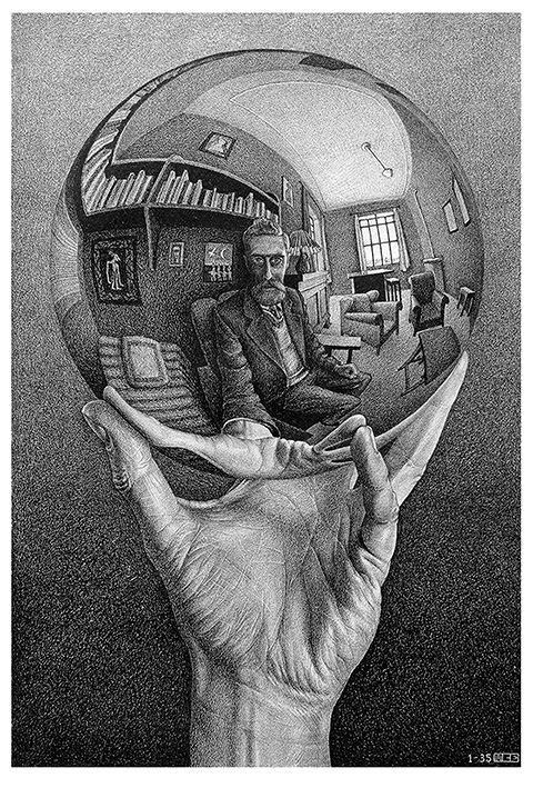 Mano con esfera reflectante (1935) Litografía, 31,1x21,3 cm The Escher Foundation Collection All M.C. Escher works © 2017 The M.C. Escher Company The Netherlands. All rights reserved