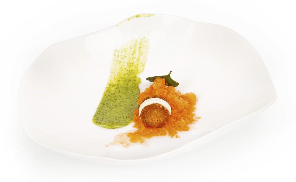Zanahoria en granizado con lima, eneldo, avena y jengibre, un postre del restaurante Santceloni (2 Estrellas Michelin), elaborado por la chef pastelera Montse Abellá.
