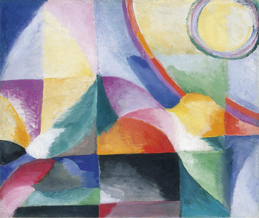 Este cuadro se titula Contrastes simultáneos, 1913. Óleo sobre lienzo.