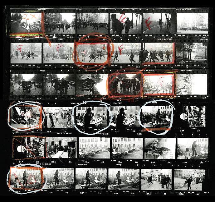 Protestas en Paris. 1968. Hoja de contactos ©Bruno Barbey Magnum Photos - La Fundación Canal descubre los secretos tras las imágenes más icónicas de Magnum Photos