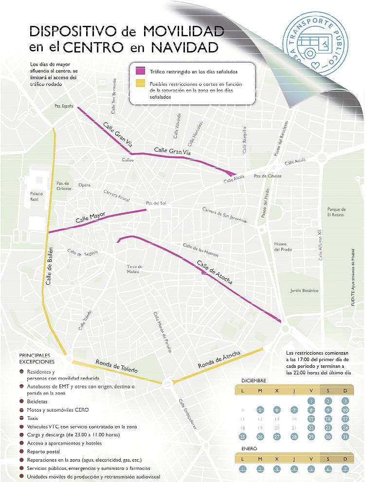 plano01 - Información completa del dispositivo de Movilidad Navidades en Madrid