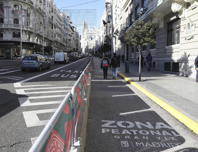 Se mantiene la zona peatonal en Gran Vía tras la Navidad