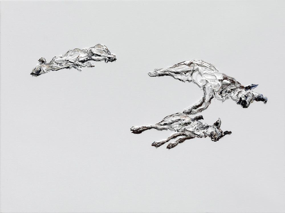 Obra del pintor Clemens Krauss titulada Dogs, de Crone Galerie.