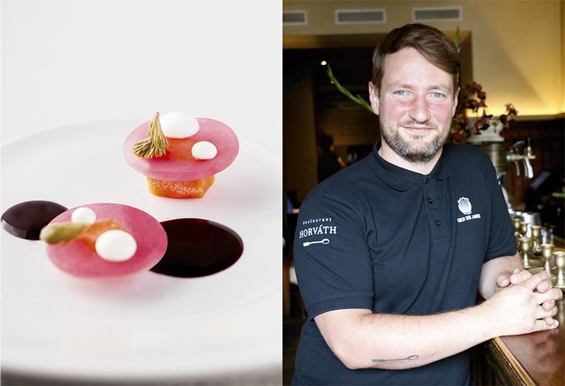 El chef Sebastian Frank posa en la entrada de su restaurante. Junto a él, imagen de uno de los platos de su último menú.