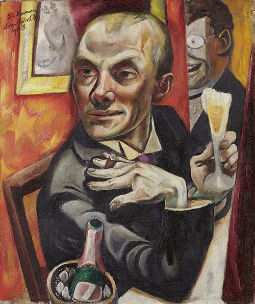 Max Beckmann, autorretrato con copa de champagne, 1019.