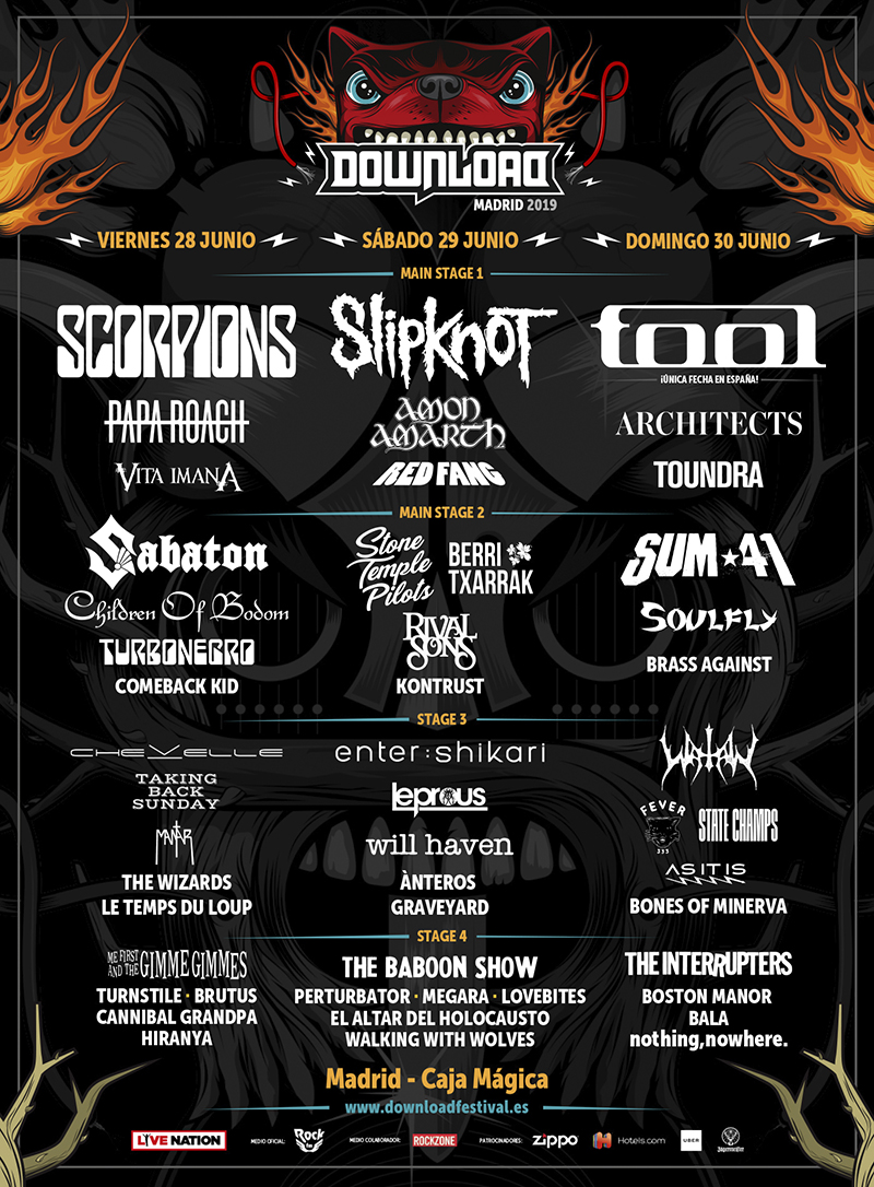 CARTEL DOWNLOAD FESTIVAL MADRID 2019 - Scorpions abre el Download Madrid