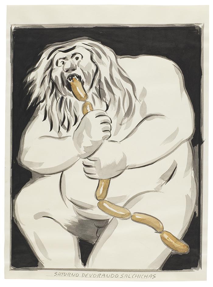 Saturno devorando salchichas. El Roto - 36 dibujos de El Roto para dialogar con Goya y la historia