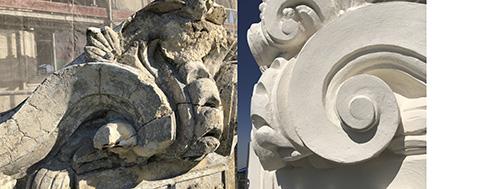 Detalle escudo sin reparar - La Estación Norte se reinaugura como Teatro La Estación