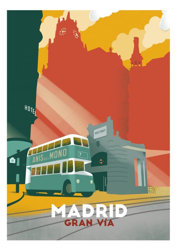 """granvia w 600x848 1 - El """"Madrid vintage"""" de la artista Tina Paterson"""