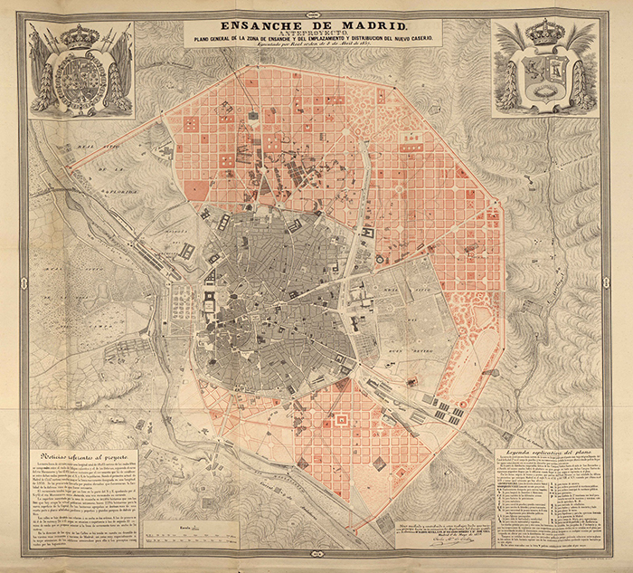 Plano Anteproyecto del Ensanche de Madrid Plan Castro 1861 - El Paseo de la Castellana cumple 160 años. Esta es su historia