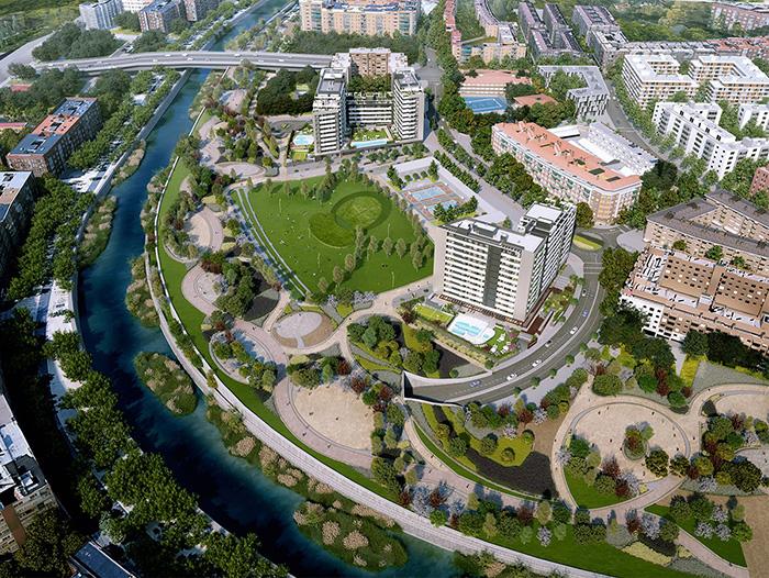 pisos nuevos madrid rio Vicente Calderon Gestilar - Así se ha demolido en Vicente Calderón y así es el proyecto de viviendas