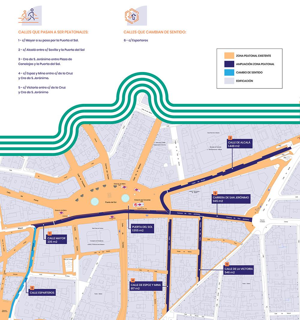 plano nuevas calles peatonales cambios sentido - La Puerta del Sol ya es totalmente peatonal