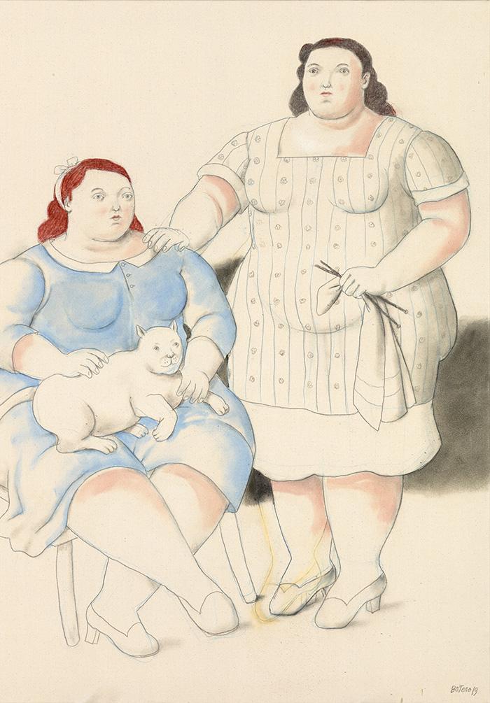 Fernando Botero 2019 Dos hermanas 2019 acuarela sobre lienzo - Botero expone en Madrid 67 obras que explican 60 años como artista