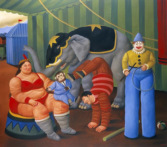 Fernando Botero Gente del circo con elefante 2007 oleo sobre lienzo - Botero expone en Madrid 67 obras que explican 60 años como artista