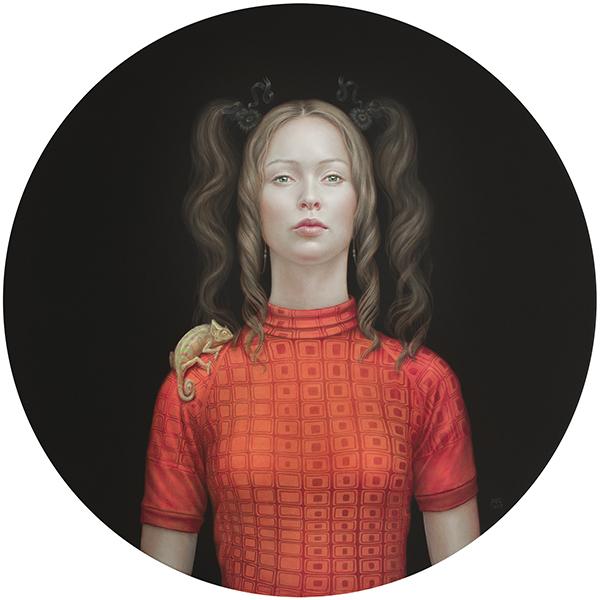 02 02 On the road Zahara con camaleón 2019 Óleo pigmentos naturales y resina acrílica sobre lienzo 100 cm diámetro - Exposicion de Salustiano: Retratos de paz, espejo y anhelos