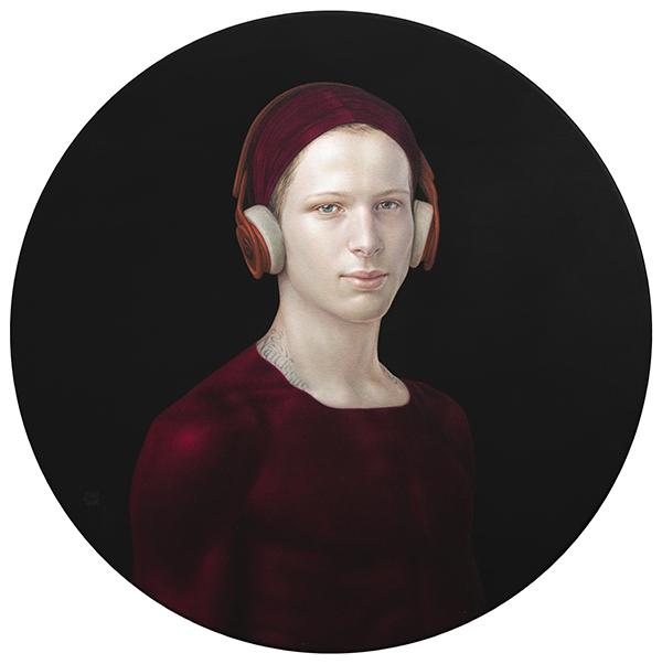 03 02 Medicine Bow Diego con cascos 2020 Pigmentos naturales y resina acrílica sobre lienzo 80 cm diámetro - Exposicion de Salustiano: Retratos de paz, espejo y anhelos