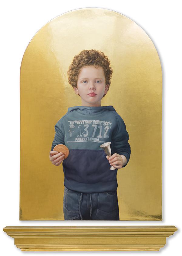 04 02 Territorio de ternura oro 2017 Oil and real gold on wood 130x65cm - Exposicion de Salustiano: Retratos de paz, espejo y anhelos