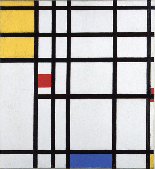 Mondrian. Pintura II 1936 43 con amarillo rojo y azul - Mondrian o cuando el arte cambió su cultura visual, en el Reina Sofía de Madrid