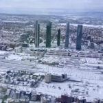 Madrid nevado desde el aire