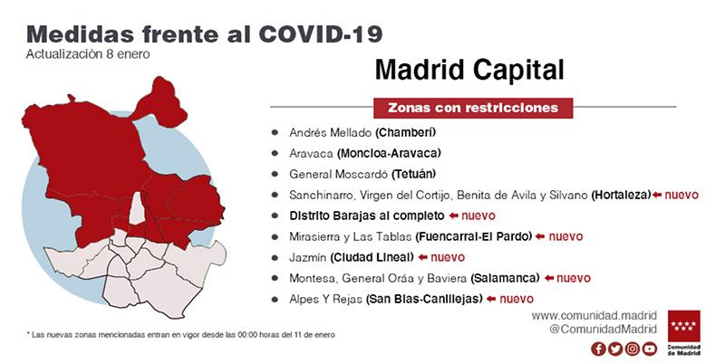 mapa Mad restricciones 8 enero - Actualización: Madrid confina 23 zonas más y 9 pueblos por aumento de casos COVID