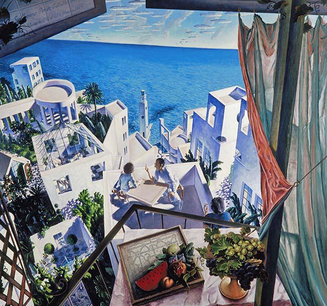 9. Artistas en una terraza o Conversaciones sobre un nuevo arte Mediterra╠üneo 1976 - El artista posmoderno, protagonista de La Movida, Guillermo Pérez Villalta, expone en Madrid