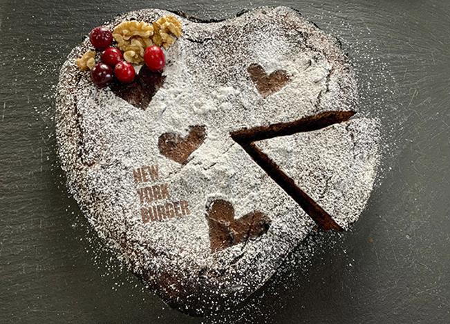 Brownie corazón New York Burger - Celebra San Valentín sin salir de casa, pero con los mejores cocineros