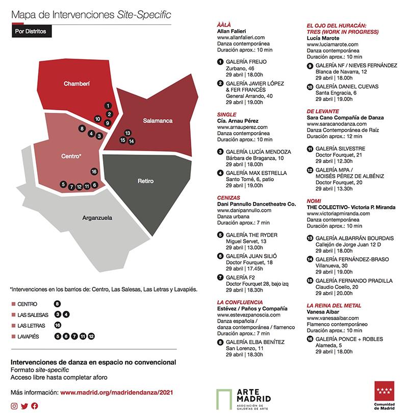 Mapa Galerias en Danza MED2021 1 - La danza se cuela en las galerías de arte de Madrid