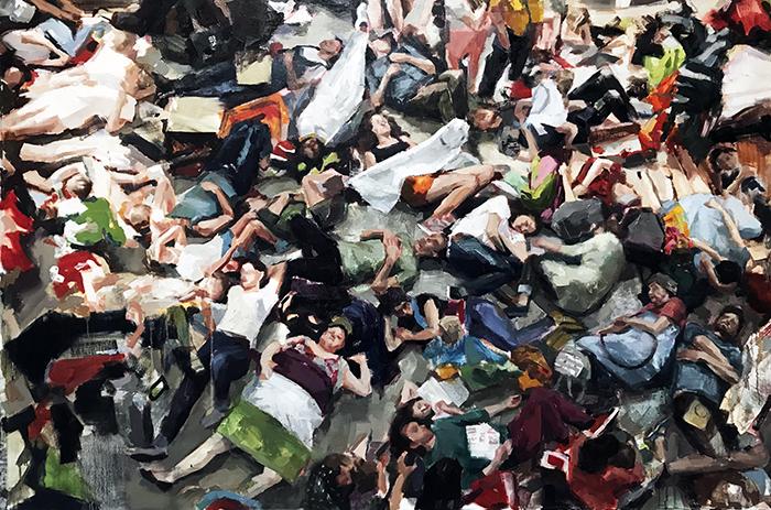 """La Causa Helen Bur Rebellion 110 x 166 cm Oil on Linen2021 - Urvanity saca a las calles de Madrid el """"Nuevo Arte Contemporáneo"""""""