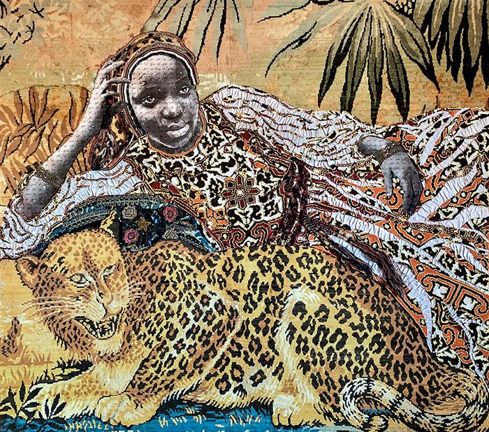 """Out Of África Gallery Marion Boehm Leopard Girl Técnica mixta y collage 139x150 2019 - """"Art Madrid"""" inicia la semana del arte en Madrid"""
