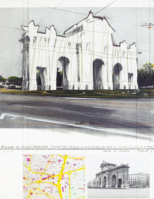 """Christo Puerta de Alcalá Empaquetada.Proyecto para Madrid.1981 - Exposición: """"Cuestión de ambiente"""", Madrid en los años 20."""