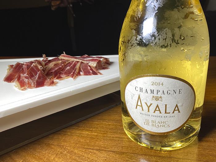"champagne Ayala y jamón - Encuentro con el ""Samurái del jamón"" y champagne Bollinger, en Luzi Bombón"