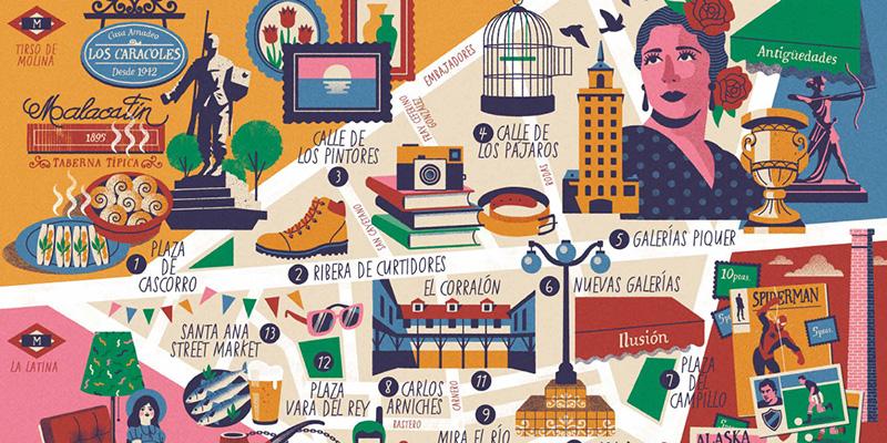 el rastro Madrid mapa - Nuevo mapa cultural ilustrado del Rastro