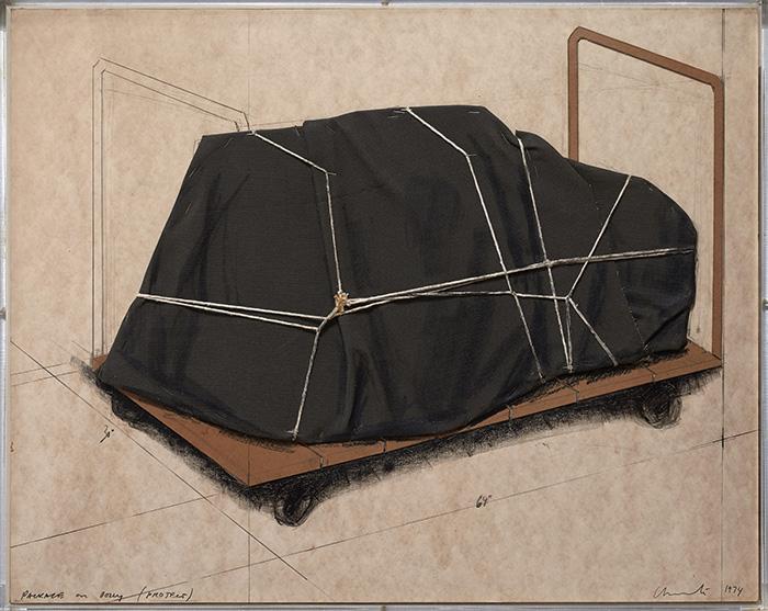 """Christo PACKAGE FOR DOLLY PROJECT 1974 Galería Guillermo de Osma - Las galerías de Madrid celebran su fiesta de """"Apertura"""" con 52 exposiciones"""