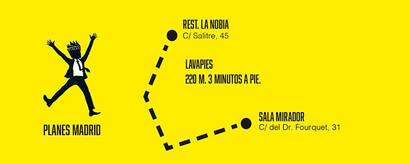 """MAP mirador la nobia - Planes Madrid: Secun de la Rosa actúa en la Sala Mirador y cenamos en """"La Nobia"""" (con b). Jueves en Lavapiés."""